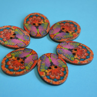 Wooden Oval Butterfly Buttons Colourful Kaleidoscope Red Pink 6pk 30x22mm (OB8)