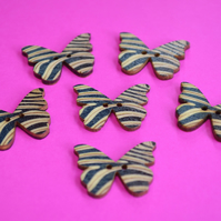 Wooden Butterfly Buttons Zebra Print Cream Brown Black 6pk 28x20mm (B2)