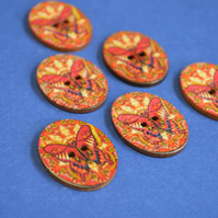 Wooden Oval Butterfly Buttons Colourful Kaleidoscope Red Orange 6pk 30x22mm (OB5