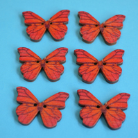 Wooden Butterfly Buttons Red Orange6pk 28x20mm (B3)