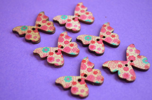 Wooden Butterfly Buttons Flowers Pink Turquoise Red 6pk 28x20mm (B4)