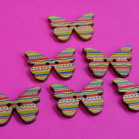 Wooden Butterfly Buttons Stripey Pink Turquoise Yellow Rainbow 6pk 28x20mm (B5)