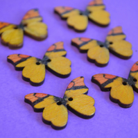 Wooden Butterfly Buttons Yellow Orange 6pk 28x20mm (B10)