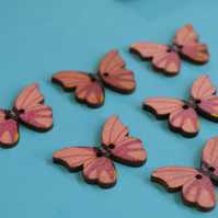 Wooden Butterfly Buttons Pink Yellow Black 6pk 28x20mm (B11)