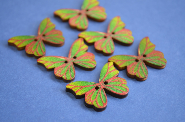 Wooden Butterfly Buttons Green Red 6pk 28x20mm (B13)