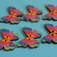 Wooden Butterfly Buttons Rainbow Pink Turquoise Blue 6pk 28x20mm (B14)