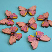 Wooden Butterfly Buttons Pink Purple Yellow  6pk 28x20mm (B15)