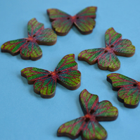 Wooden Butterfly Buttons Green Red 6pk 28x20mm (B17)