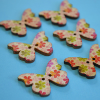 Wooden Butterfly Buttons Flowers Pink Green Red 6pk 28x20mm (B8)