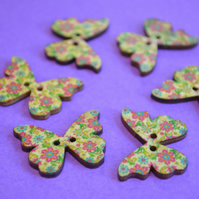 Wooden Butterfly Buttons Flowers Pink Green Blue Yellow 6pk 28x20mm (B9)