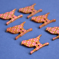 Wooden Bird Buttons Retro Brown Pink Beige 6pk 30x20mm (BD4)