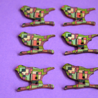 Wooden Bird Buttons Retro Green Pink Purple Turquoise 6pk 30x20mm (BD5)