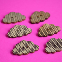 Wooden Cloud Buttons Black and White Zig Zag 6pk 30x20mm (CD2)