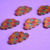 Wooden Cloud Buttons Red Blue Orange 6pk 30x20mm (CD3)