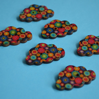 Wooden Cloud Buttons Multi Coloured Black Orange Blue Red 6pk 30x20mm (CD4)