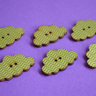 Wooden Cloud Buttons Green and White Zig Zag 6pk 30x20mm (CD5)