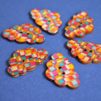 Wooden Cloud Buttons Multi Coloured Rainbow 6pk 30x20mm (CD7)