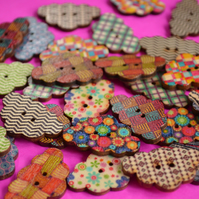 Wooden Cloud Buttons Mixed 30x20mm (CD12)