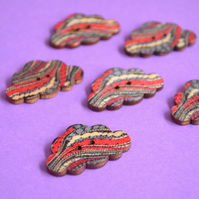 Wooden Cloud Buttons Blue Red Grey 6pk 30x20mm (CD10)