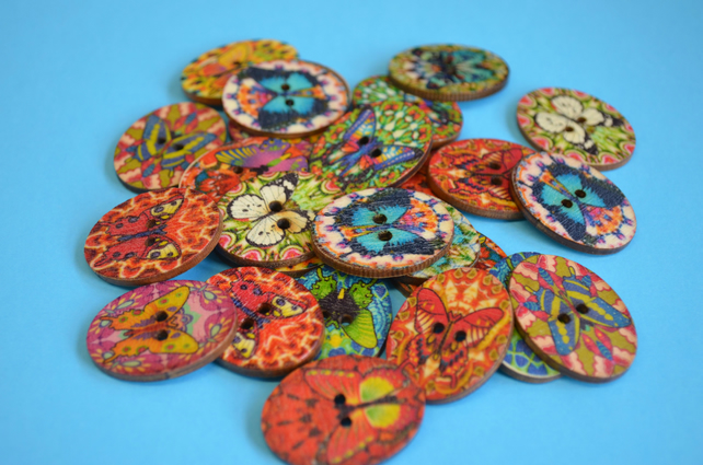 Wooden Oval Butterfly Buttons Colourful Kaleidoscope Mixed 30x22mm (OB9)