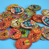 Wooden Oval Butterfly Buttons Colourful Kaleidoscope Mixed 6pk 30x22mm (OB1)
