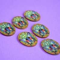 Wooden Oval Butterfly Buttons Colourful Kaleidoscope Blue Green 6pk 30x22mm (OB2