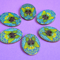 Wooden Oval Butterfly Buttons Colourful Kaleidoscope Blue Green 6pk 30x22mm (OB3