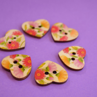 Wooden Heart Buttons Floral Pink Yellow Red 6pk 25x22mm (H2)