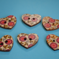 Wooden Heart Buttons Floral Pink Green Red 6pk 25x22mm (H3)
