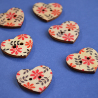 Wooden Heart Buttons Floral Retro Red and Black 6pk 25x22mm (H5)