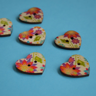 Wooden Heart Buttons Floral Retro Purple Orange Yellow 6pk 25x22mm (H7)