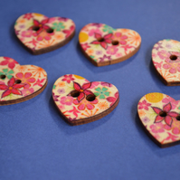 Wooden Heart Buttons Floral Pink Blue Yellow 6pk 25x22mm (H9)