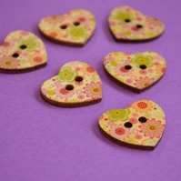 Wooden Heart Buttons Floral Pink Green 6pk 25x22mm (H10)