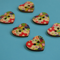 Wooden Heart Buttons Floral Red Green Blue Yellow 6pk 25x22mm (H11)
