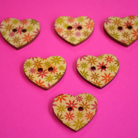 Wooden Heart Buttons Floral Green Orange Pink Yellow 6pk 25x22mm (H12)