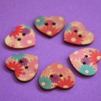 Wooden Heart Buttons Floral Retro Daisy Pink Red Purple Blue 6pk 25x22mm (H14)