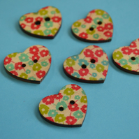 Wooden Heart Buttons Floral Retro Daisy Green Red Blue 6pk 25x22mm (H15)