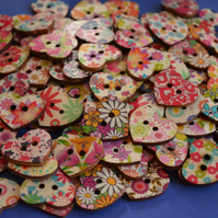 Wooden Heart Buttons Floral Mixed  25x22mm (H16)