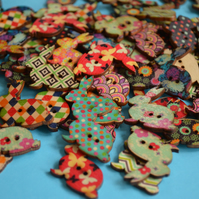 Wooden Rabbit Buttons Mixed 6pk 30x30mm Bunny Hare (R1)