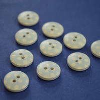 15mm Wooden Spotty Buttons Baby Blue With White Dots 10pk Spot Dot (SSP9)