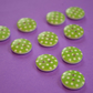 15mm Wooden Spotty Buttons Apple Green With White Dots 10pk Spot Dot (SSP10)
