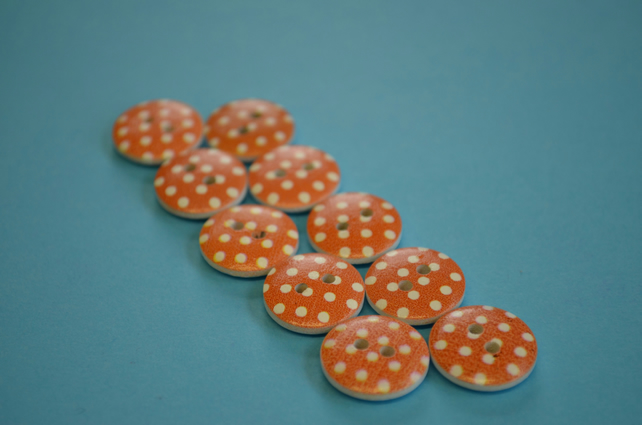 15mm Wooden Spotty Buttons Orange With White Dots 10pk Spot Dot (SSP11)