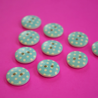 15mm Wooden Spotty Buttons Blue With White Dots 10pk Spot Dot (SSP12)