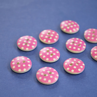 15mm Wooden Spotty Buttons Hot Pink With White Dots 10pk Spot Dot (SSP13)