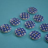 15mm Wooden Spotty Buttons Dark Blue With White Dots 10pk Spot Dot (SSP15)