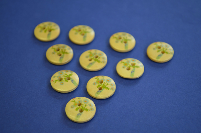 15mm Wooden Floral Buttons Natural Wood 10pk Flowers Blue Vase (SNF2)