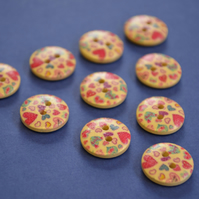15mm Wooden Red Pink Blue Heart Buttons Natural Wood 10pk (SNH2)