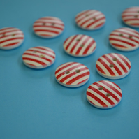 15mm Wooden Striped Buttons Red White 10pk Stripe Stripey (SST6)