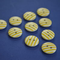 15mm Wooden Striped Buttons Yellow White 10pk Stripe Stripey (SST8)