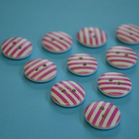 15mm Wooden Striped Buttons Hot Pink White 10pk Stripe Stripey (SST10)